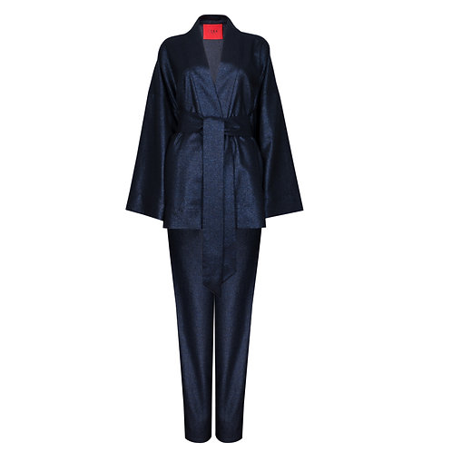 IZBA rouge New Year collection wool deep-blue kimono with pants