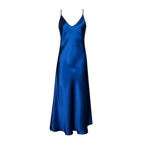 IZBA rouge pure silk slip dress in blue color