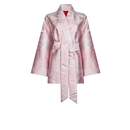 IZBA rouge pink jacquard kimono