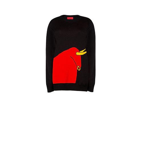 IZBA rouge черный свитер с горлом и с иллюстрацией красного быка как символа нового успешного года