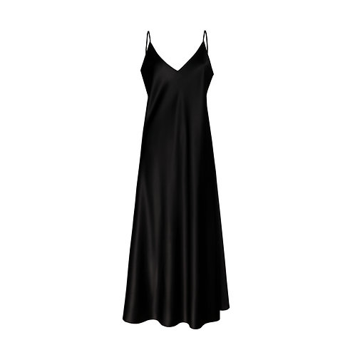 IZBA rouge black silk slip dress