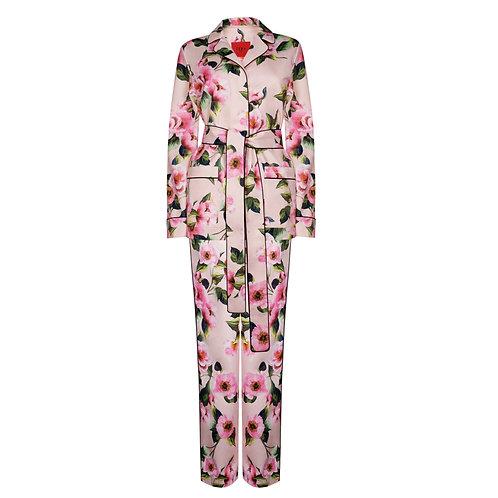 IZBA rouge floral-print pajama suit pink