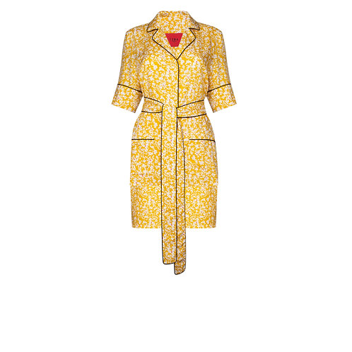 IZBA rouge yellow floral-print pajama suit with shorts