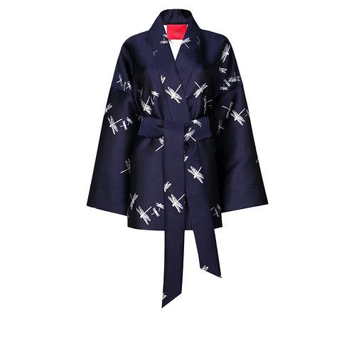 IZBA rouge deep blue jacquard kimono