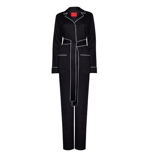 IZBA rouge black cotton pajama suit