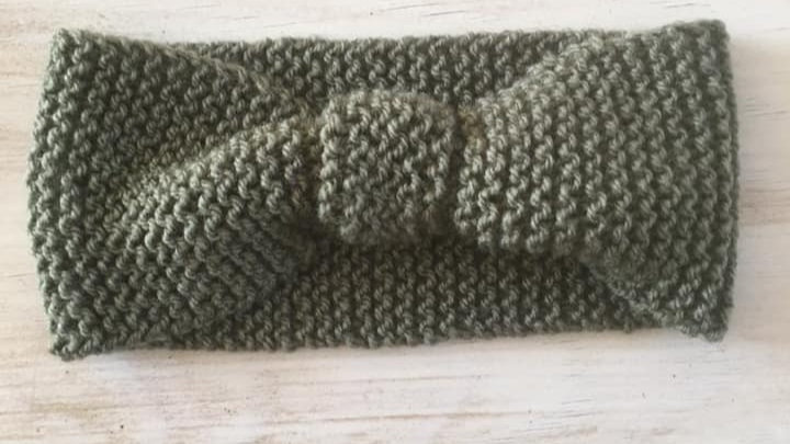 Headband bandeau de tête femme en laine kaki