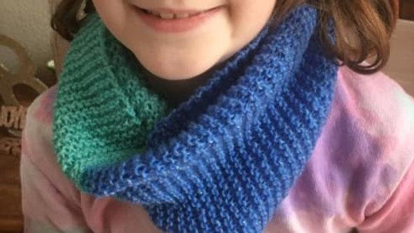 Snood tour de cou turquoise et bleu femme fille