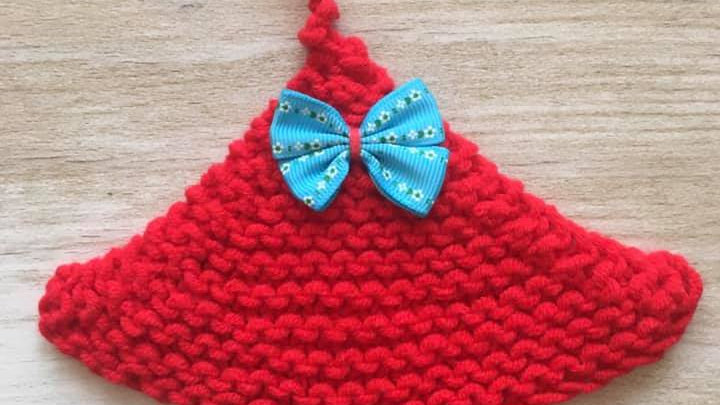 Petit sapin en laine rouge déco ornement de Noël nœud bleu