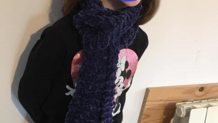 Echarpe douce en laine bleue nuit