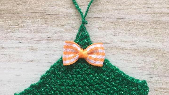 Mini sapin vert en laine déco ornement de Noël nœud orange