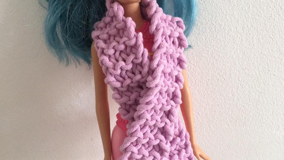 Écharpe large en laine violette poupée Barbie