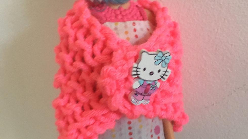 Châle en laine rose flashi Barbie Hello Kitty