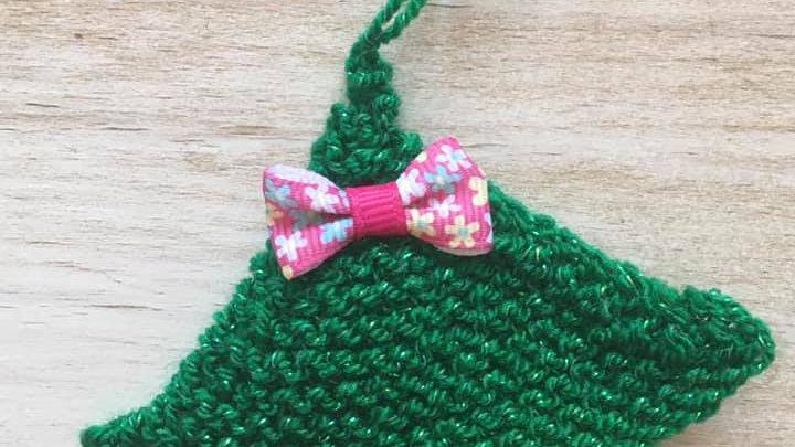 Mini sapin vert en laine déco ornement de Noël nœud roseà fleurs