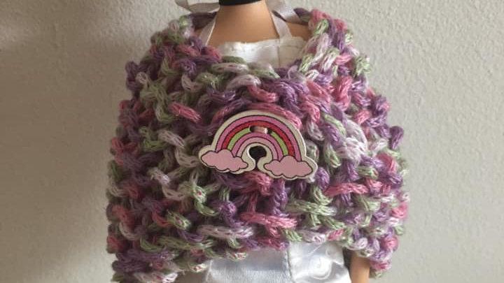 Châle en laine  tricolore scintillante pour poupée Barbie