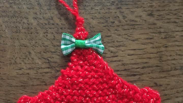 Mini sapin en laine rouge scintillante déco ornement de Noël nœud vichy