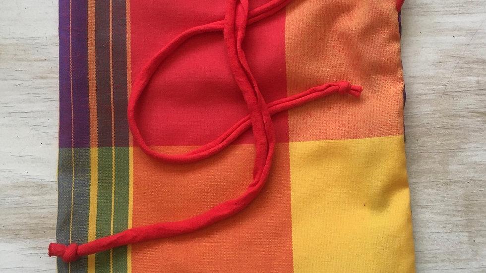 Sac à vrac fait main Madras cordon rouge