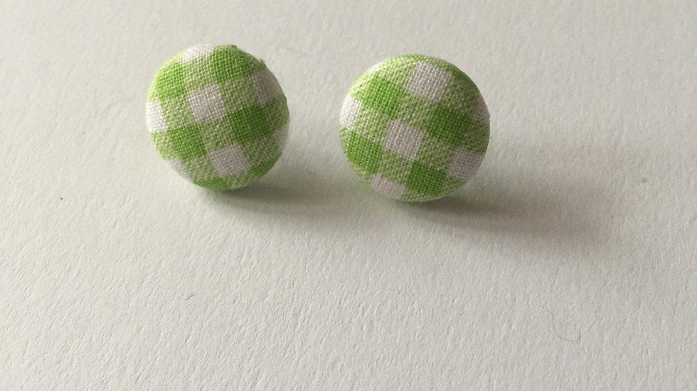 Boucles d'oreilles Clous Vichy Vert