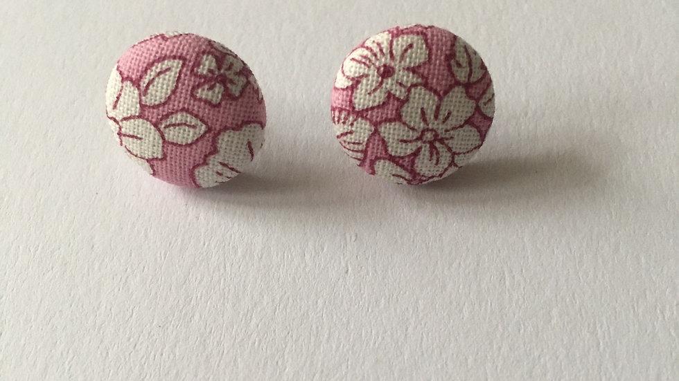 Boucles d'oreilles Clous Liberty Rose Blanc