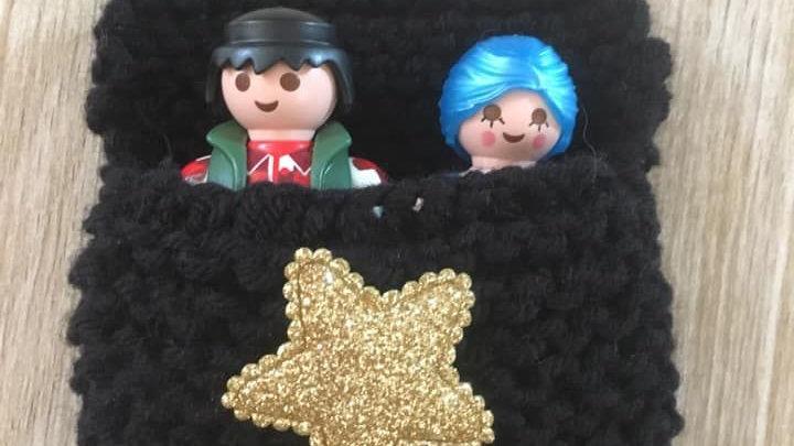 Sac couchage Playmobil noir en laine étoile dorée