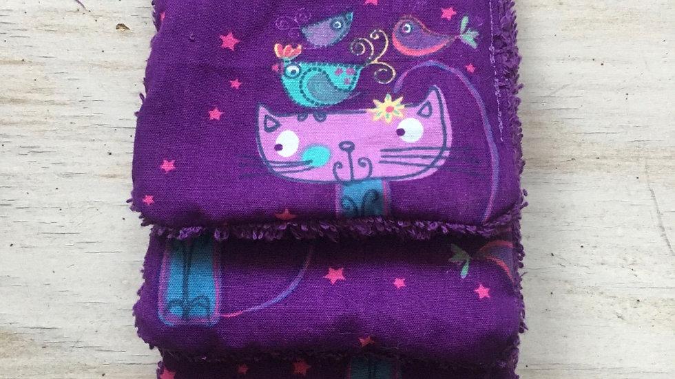 Lingettes démaquillantes lavables chats violet