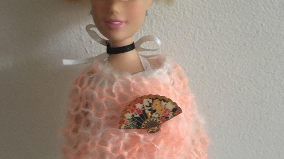 Châle en laine orange pour Barbie éventail