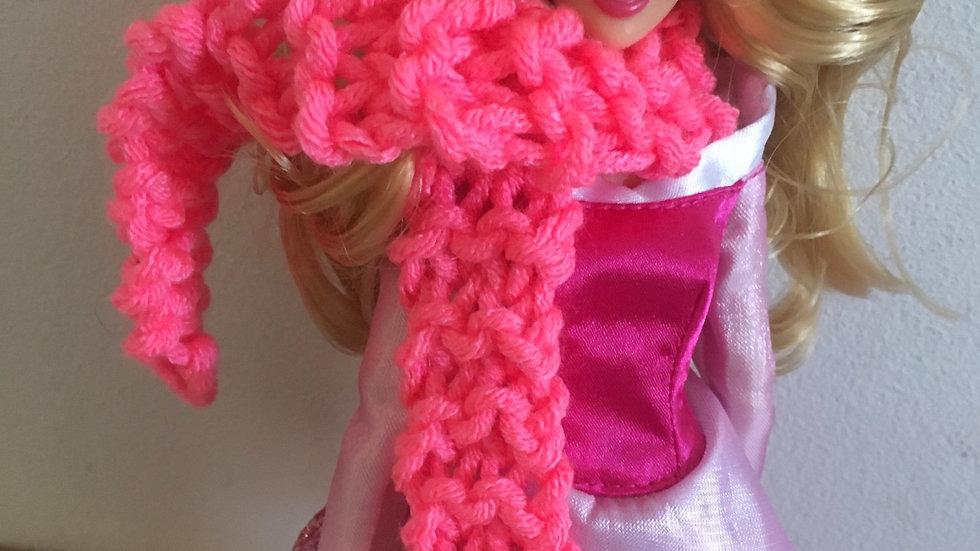 Écharpe large en laine rose poupée Barbie