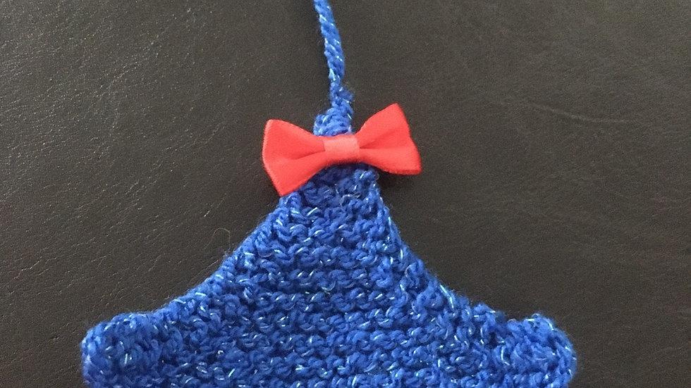 Mini sapin bleu scintillant laine déco ornement de Noël nœud rouge