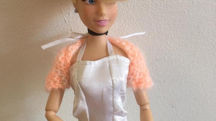Cache-épaules en laine mohair pour poupée Barbie orange