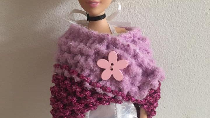 Châle en laine Barbie double violet scintillant