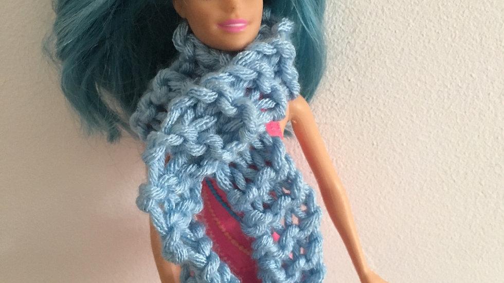 Écharpe large en laine pour poupée Barbie Bleu