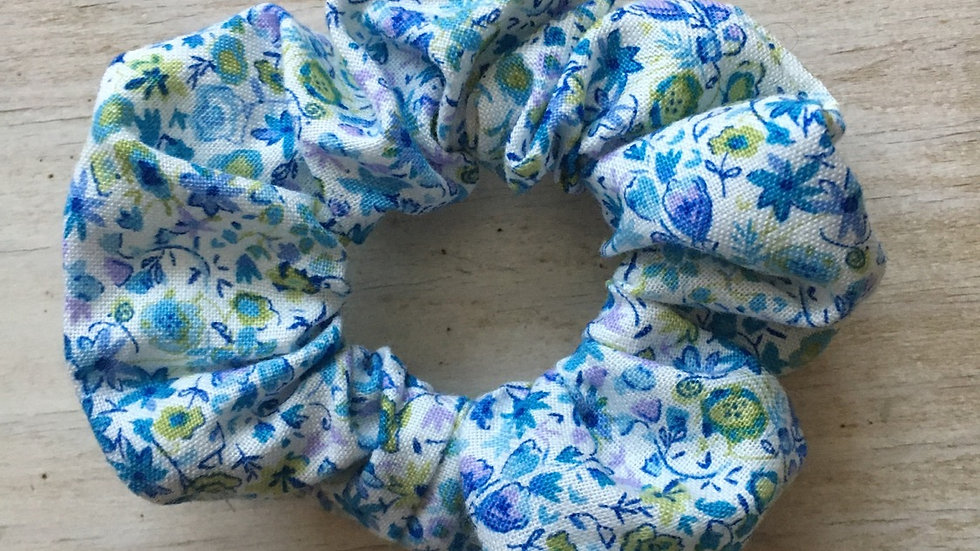 Chouchou bleu vert blanc Liberty