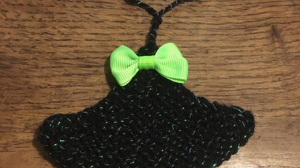 Mini sapin noir et vert scintillant en laine déco ornement de Noël nœud assorti