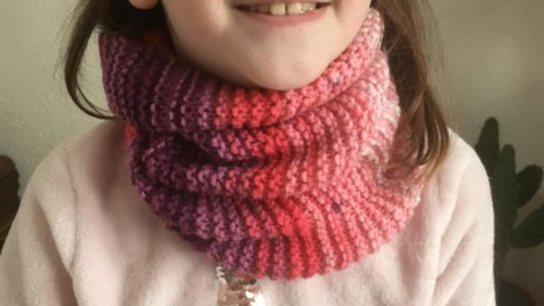 Tour de cou Snood violet et rose dégradé fille