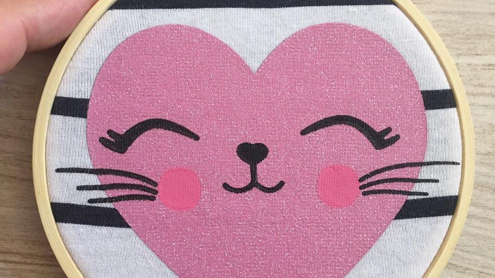 Tambour cercle déco cœur petit chat d'amour