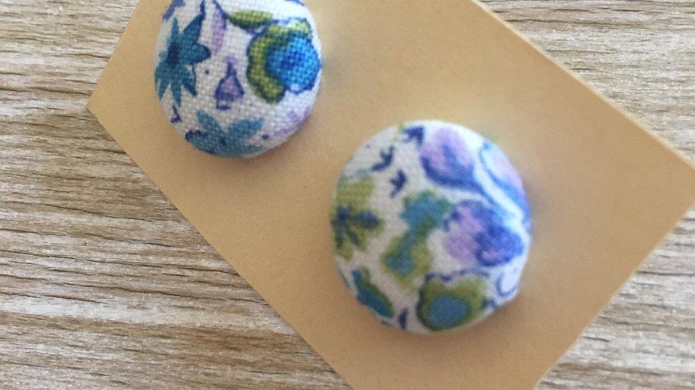 Boucles d'oreilles Clous Liberty bleu blanc vert