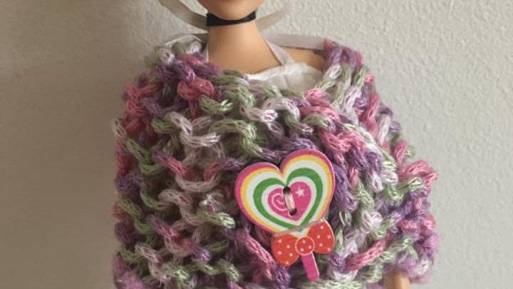 Châle en laine tricolore double matière violet pour poupée Barbie
