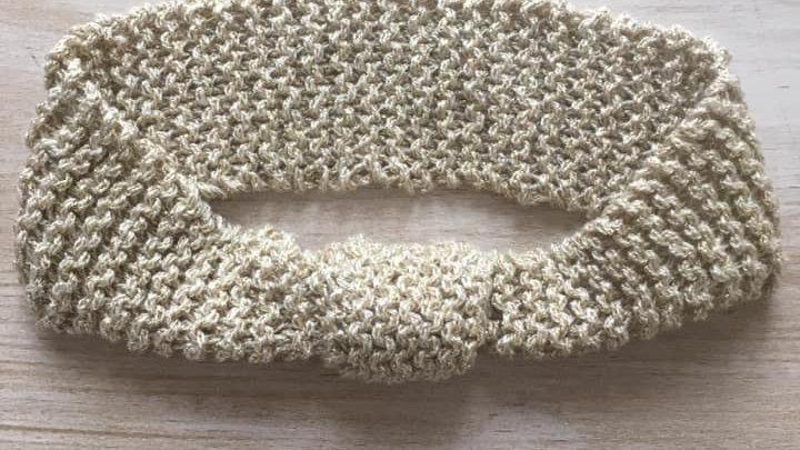 Headband bandeau de tête femme en laine doré