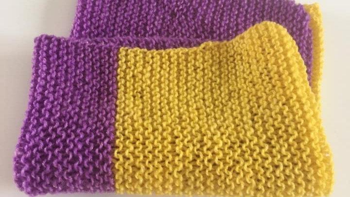 Snood tour de cou violet et jaune femme fille