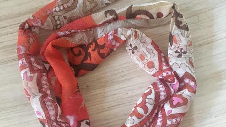 Bandeau souple à nouer géométrie orange