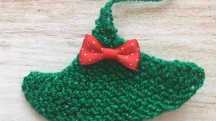 Mini sapin vert en laine déco ornement de Noël nœud petits pois