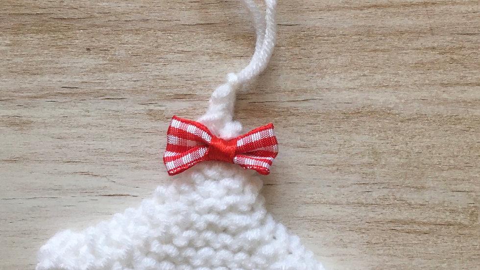 Mini sapin blanc en laine déco ornement de Noël nœud assorti