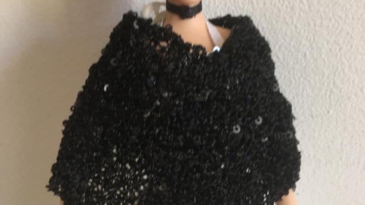 Poncho pour Barbie Noir à sequins