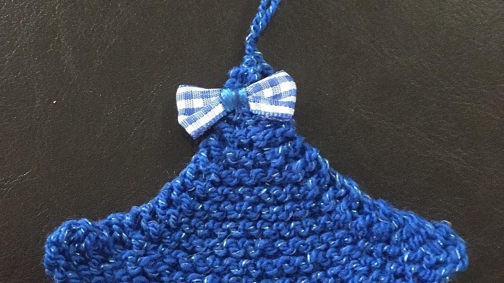 Mini sapin bleu scintillant laine déco ornement de Noël nœud vichy