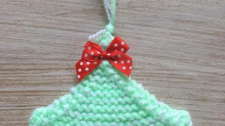 Mini sapin blanc et vert en laine scintillante déco ornement de Noël nœud orange