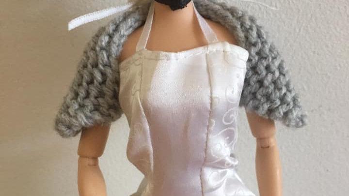 Cache-épaules en laine pour barbie gris
