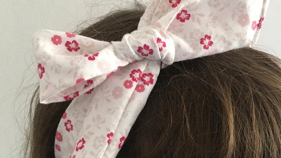 Bandeau Souple à nouer Blanc avec Fleurs roses