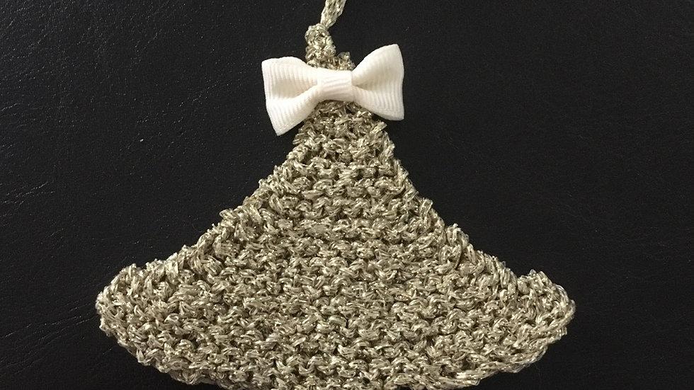 Mini sapin doré scintillant en laine déco ornement de Noël nœud assorti