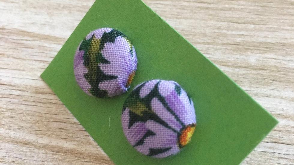 Boucles d'oreilles Clous marguerites violettes