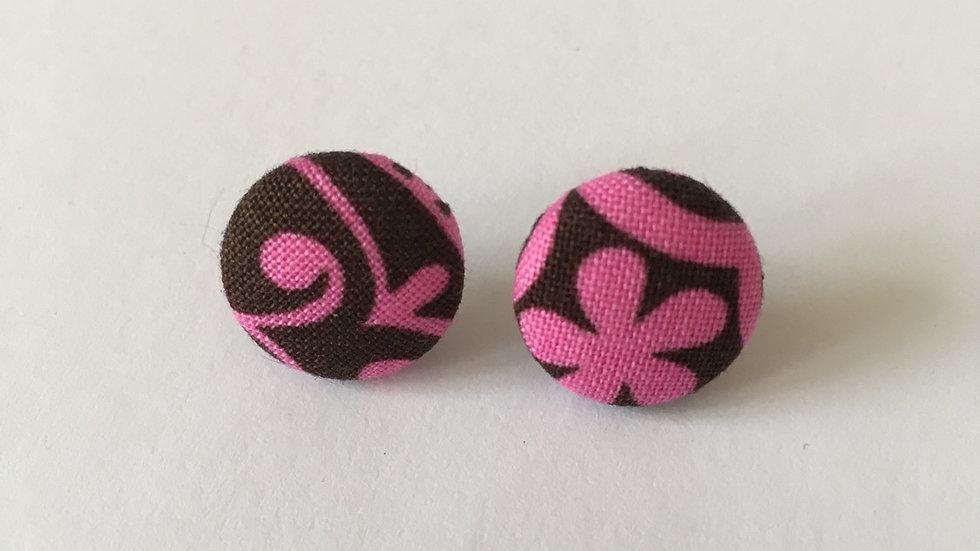 Boucles d'oreilles Clous marron rose arabesque