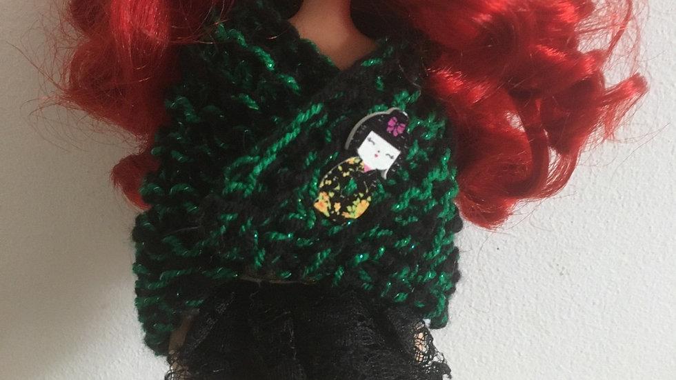 Châle en laine pour barbie vert pailleté et noir
